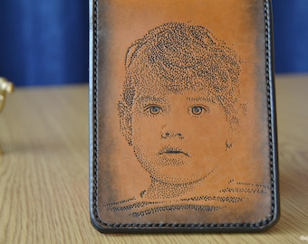 Daddy's girl portrait hand tooled leather billfold wallet for men. A memorable high end expensive birthday or anniversary gift for dad