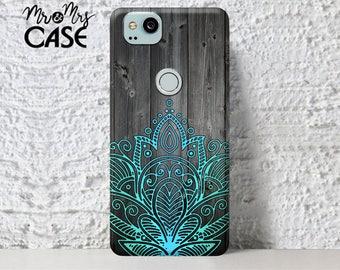 Case for Google Pixel Xl 2-Pixel 2-HTC Google Pixel 2 Xl case-Pixel 2-Wood&blue mandala Pixel 2 case-OnePlus 3t case-OnePlus 5-Pixel 2 Xl