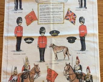 English Tea towel / Guards / horses