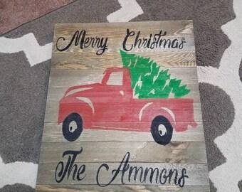 Rustic Christmas sign monogram