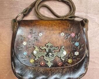 1990's vintage embossed leather purse - dark brown