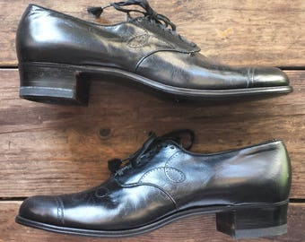 1930's Wilbur Coon Shoes all leather oxford pumps - Women's (1930's) size 9 1/2AAA(slim) - black - as-new/never worn condition