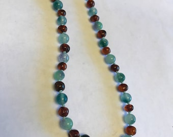 Fluorite and cognac baltic amber teething necklace 11.5""