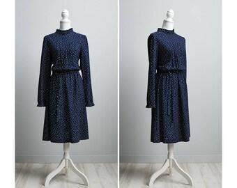 Women's Vintage 1980s Navy Blue Secretary Dress
