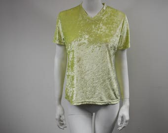Vintage 90s Acid Yellow Velvet T-Shirt