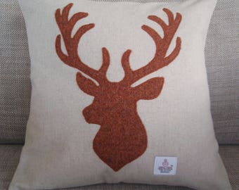 Copper coloured Harris Tweed Stag Cushion