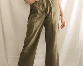 Vintage Green Wide Leg Pants