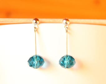 Chip earrings on stem and blue faceted glass beads
