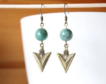 Ethnic bronze arrowhead and green Jasper bead earrings