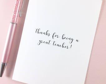 Teacher card/Appreciation card /Mentor card/Thank you teacher card/My favorite teacher card