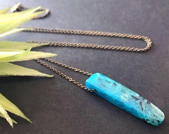 Blue Agate Pendant Necklace // Unique Long Necklace // Crackle Agate Necklace // Natural Stone Necklace // Raw Stone Necklace // Blue Stone