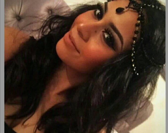 Black head chain Gothic headpiece Goth Headband Chain Headpiece, Goddess Matha Patti Boho Headpiece, Halloween Hair Accessory