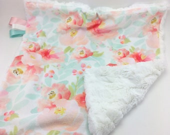 Floral Watercolor Lovey ~ Minky Lovey ~ Faux Fur Lovey ~ Baby Girl Lovey ~ Modern Baby Blanket ~ Blush Pink Teal Ribbon Blanket