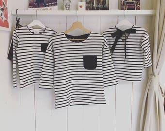 "Black and white line ""Steph"" T-shirt"