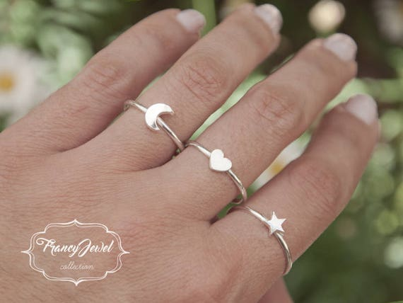 Silver rings, pure silver rings, half moon ring, star ring, heart ring, stackable rings, made in Italy, birthday gifts, boho chic rings