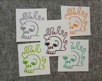 5 Flaming Skull Stickers