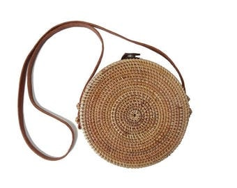 Round Capri Crossbody Purse; Woven Bamboo / Rattan / Straw / Wicker / Beach Bag Tote (Sold Out for Jan, Pre-Order for Shipment 2nd week Feb)