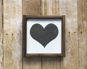 Mini sign, Heart sign, love, heart wood sign, family sign, gallery wall sign, modern farmhouse, girls room decor
