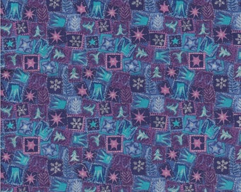 Makower UK Fabric, Mini Xmas Boxes, Metallic accents, 1/2 yard