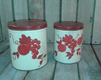 Vintage Set of 2 Kitchen Tins with Grapes/Vintage Tins/Kitchen Tins