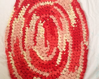 Orange Crochet Rag Rug