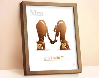 Monkey Print | Nursery Animal Print | Alphabet letters | Alphabet Print | ABC letters | Animal Prints for Nursery | Nursery Wall Art