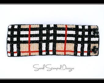 Burberry Inspired Bead Embroidery Cuff