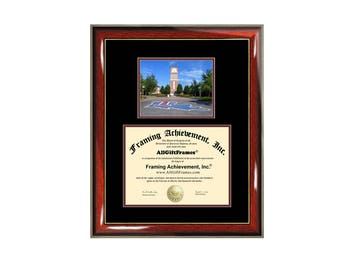 LTU Diploma Frame Louisiana Tech University Certificate Framing Campus Photo Graduation Degree Holder Plaque Grad Document