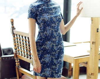 Contemporary Chinese Qipao / Blue / Chinese Cheongsam / Knee Length / Floral Pattern / Traditional Cut / S,M,L,XL