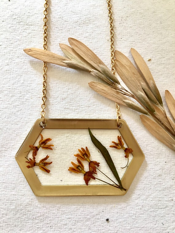 Butterfly weed (milkweed) flower brass hexagon necklace