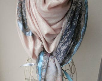 Multicolor silver salmon pink scarf. Echarpe.Grand multicolored scarf. Scarf style shanna. Gift idea for woman. Colorful scarf.