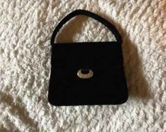 Vintage Black Velvet Evening Bag
