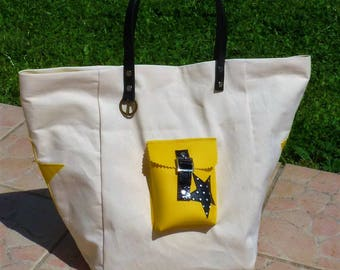 beige/yellow/black polka dots Pocket star style pomponette leather tote bag