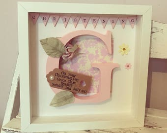 Personalised Christening Frame • Wooden Letter • Initial Frame
