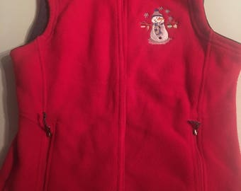Womens fleece embroidered vest snowflake and snowmen