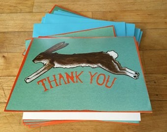 Thanks Rabbit Boxed Blank Thank You Note Cards