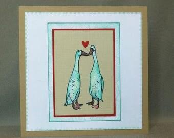 valentines card,   anniversary card,  love card,  handmade card, ducks