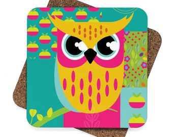 Bright Owl   Square Hardboard Coaster Set  4Pcs