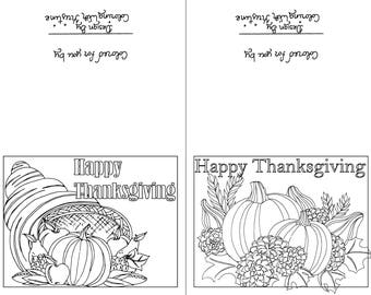 Color Your Own Thanksgiving Cards Set Of Two Instant Download Holiday Crafts