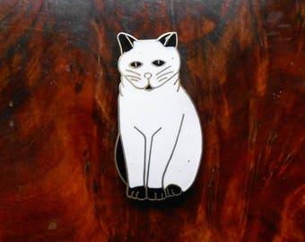 Vintage 1980s Enamel Cat Badge / Brooch, White Cat