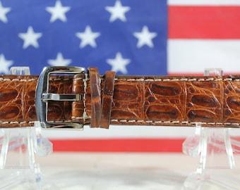 Genuine Brown Alligator Leather Skin Watch Strap 24mm (Made in U.S.A) #107