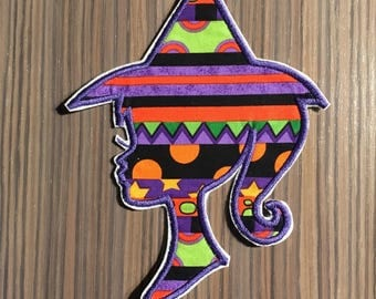 Witch Silhouette Iron on Applique Patch