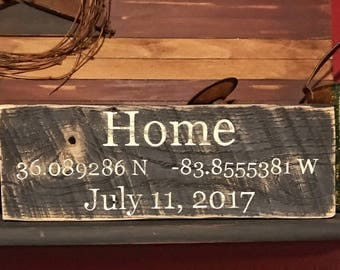 Latitude Longitude, Sign Coordinates, Coordinates sign, Personalized Latitude Longitude wood sign, Housewarming gift