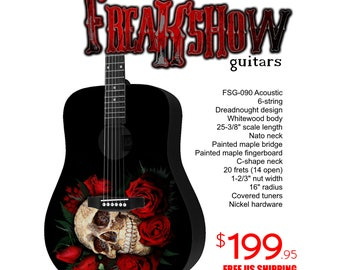 Graphic Acoustic Guitar ROSE Design by FreakshowGuitars - FREE SHIPPING