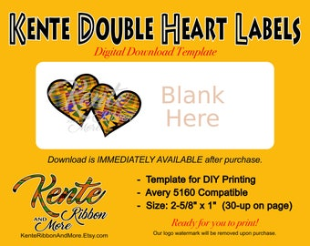 "DIY - Kente Double Hearts Return Label Template - 30 on 8.5""x11"" - Avery 5160 Compatible - Digital Download Immediately Available"