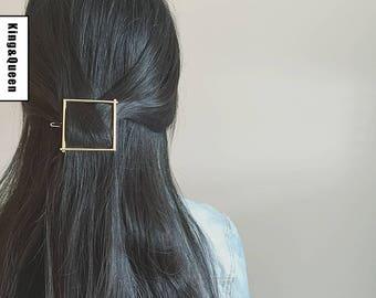 Geometric Hair Clip Crescent Moon Hair Clip Gold Circle Hair Clip Triangle Hair Clip| Boho Hair accessories| Minimalist Hair accessories
