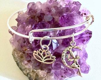 Fairy Lotus Flower Silver Plated Adjustable Bangle Charm Bracelet Handmade Fashion Jewelry Boho Chic Style Indie Jewelry Rust Resist Coating