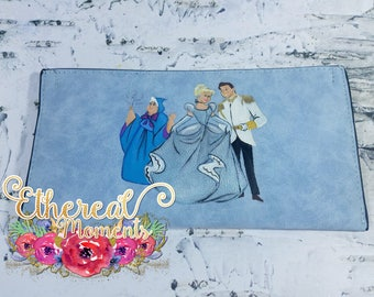 Cinderella hand painted small purse - Painted wallet - Cinderella painting