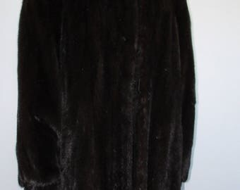 Vtg  trèssuperbe long manteau de véritable fourrure de vison brun noir/superbe long  brown black real mink fur coat  sz 3Xlarge bust 54