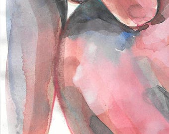 MEANINGFUL Original artwork, watercolor and drawing, coitus # 5, 14.9 x 21cm, Canson sketch paper 90g